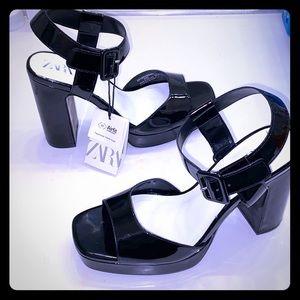 ZARA Platform Heel Sandals NEW with Tags